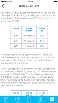 Tesco Pay As You Go triple credit traffic