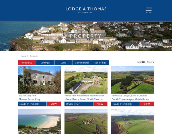 Lodge & Thomas landing page