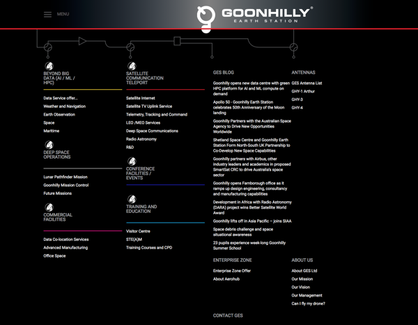 Goonhilly Earth Station website menu