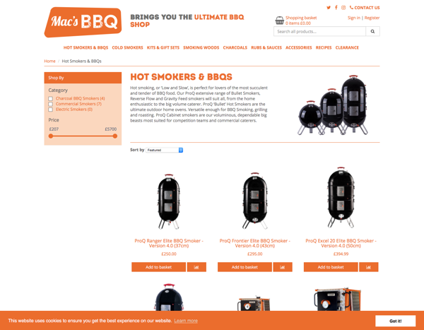 Mac's BBQ smokers product page