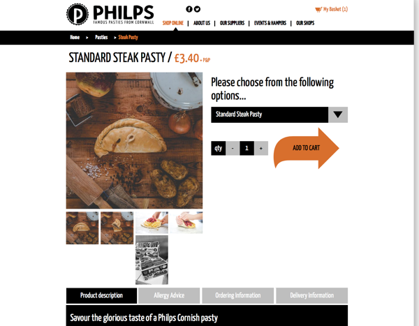 Philps Pasties product page